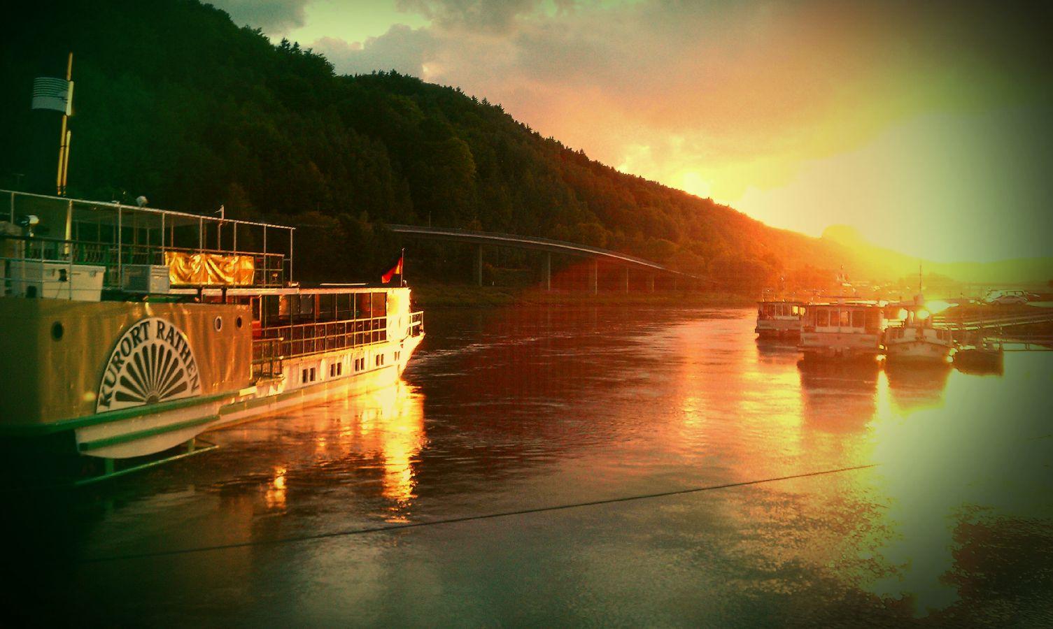 Sonnenuntergang, Elbe, Bad Schandau
